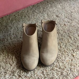 Tan Suede Slip-on Ankle Booties
